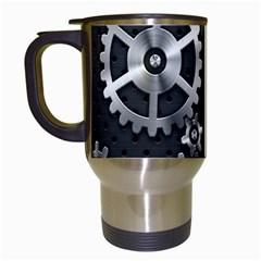Chain Iron Polka Dot Black Silver Travel Mugs (White)