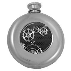 Chain Iron Polka Dot Black Silver Round Hip Flask (5 oz)