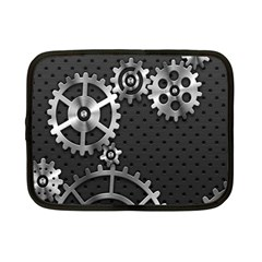 Chain Iron Polka Dot Black Silver Netbook Case (Small)