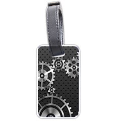 Chain Iron Polka Dot Black Silver Luggage Tags (Two Sides)