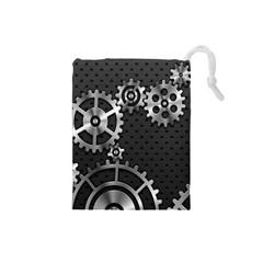 Chain Iron Polka Dot Black Silver Drawstring Pouches (Small)
