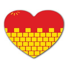 Firewall Bridge Signal Yellow Red Heart Mousepads