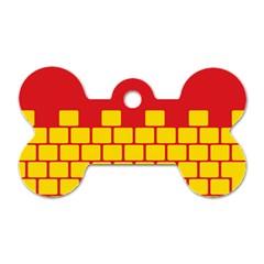 Firewall Bridge Signal Yellow Red Dog Tag Bone (One Side)