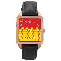 Firewall Bridge Signal Yellow Red Rose Gold Leather Watch