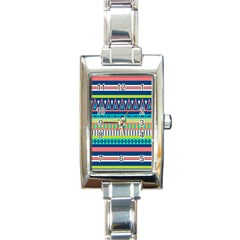 Aztec Triangle Chevron Wave Plaid Circle Color Rainbow Rectangle Italian Charm Watch