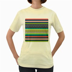 Aztec Triangle Chevron Wave Plaid Circle Color Rainbow Women s Yellow T-Shirt