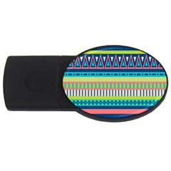 Aztec Triangle Chevron Wave Plaid Circle Color Rainbow USB Flash Drive Oval (4 GB)