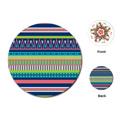 Aztec Triangle Chevron Wave Plaid Circle Color Rainbow Playing Cards (Round)