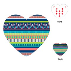 Aztec Triangle Chevron Wave Plaid Circle Color Rainbow Playing Cards (Heart)