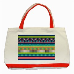 Aztec Triangle Chevron Wave Plaid Circle Color Rainbow Classic Tote Bag (Red)