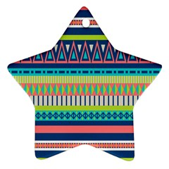Aztec Triangle Chevron Wave Plaid Circle Color Rainbow Star Ornament (Two Sides)