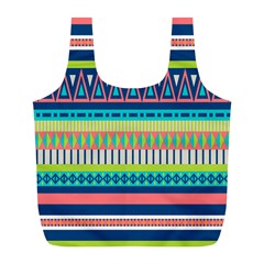 Aztec Triangle Chevron Wave Plaid Circle Color Rainbow Full Print Recycle Bags (l)