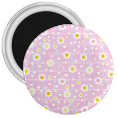 Flower Floral Sunflower Pink Yellow 3  Magnets