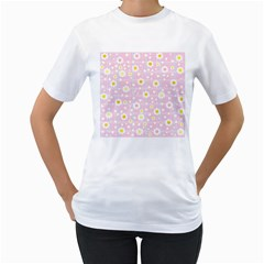 Flower Floral Sunflower Pink Yellow Women s T-Shirt (White) (Two Sided)
