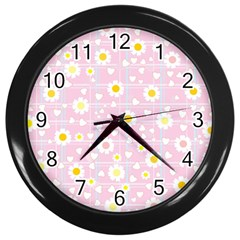 Flower Floral Sunflower Pink Yellow Wall Clocks (Black)