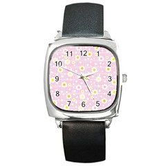 Flower Floral Sunflower Pink Yellow Square Metal Watch