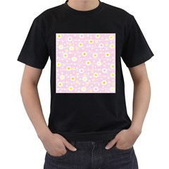 Flower Floral Sunflower Pink Yellow Men s T-Shirt (Black) (Two Sided)