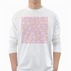 Flower Floral Sunflower Pink Yellow White Long Sleeve T-Shirts