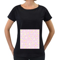 Flower Floral Sunflower Pink Yellow Women s Loose-Fit T-Shirt (Black)