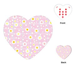 Flower Floral Sunflower Pink Yellow Playing Cards (Heart)