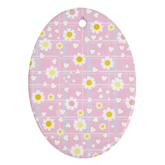 Flower Floral Sunflower Pink Yellow Oval Ornament (Two Sides)