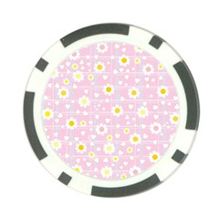 Flower Floral Sunflower Pink Yellow Poker Chip Card Guard