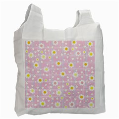 Flower Floral Sunflower Pink Yellow Recycle Bag (Two Side)