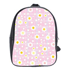 Flower Floral Sunflower Pink Yellow School Bags(Large)