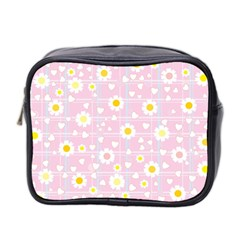 Flower Floral Sunflower Pink Yellow Mini Toiletries Bag 2-Side