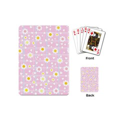 Flower Floral Sunflower Pink Yellow Playing Cards (Mini)