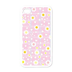 Flower Floral Sunflower Pink Yellow Apple iPhone 4 Case (White)