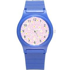 Flower Floral Sunflower Pink Yellow Round Plastic Sport Watch (S)