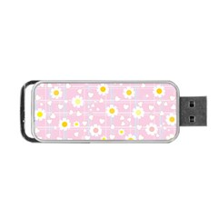 Flower Floral Sunflower Pink Yellow Portable USB Flash (Two Sides)