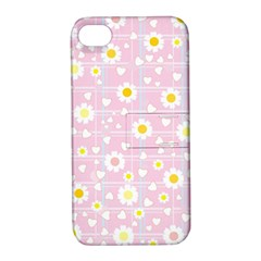 Flower Floral Sunflower Pink Yellow Apple iPhone 4/4S Hardshell Case with Stand