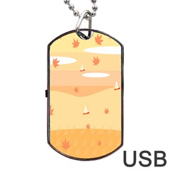 Dragonfly Leaf Orange Dog Tag USB Flash (One Side)