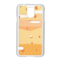 Dragonfly Leaf Orange Samsung Galaxy S5 Case (White)