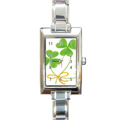 Flower Floralleaf Green Reboon Rectangle Italian Charm Watch