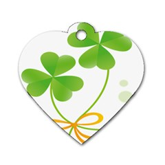 Flower Floralleaf Green Reboon Dog Tag Heart (Two Sides)