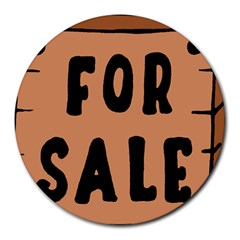 For Sale Sign Black Brown Round Mousepads