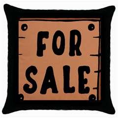 For Sale Sign Black Brown Throw Pillow Case (Black)