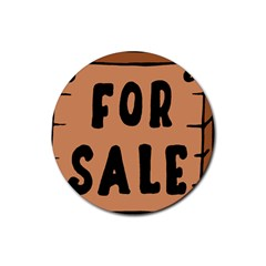 For Sale Sign Black Brown Rubber Round Coaster (4 pack)