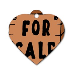 For Sale Sign Black Brown Dog Tag Heart (One Side)