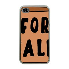 For Sale Sign Black Brown Apple iPhone 4 Case (Clear)