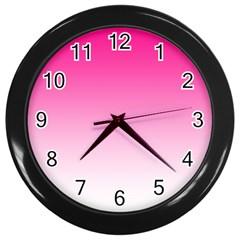 Gradients Pink White Wall Clocks (Black)