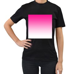 Gradients Pink White Women s T-Shirt (Black) (Two Sided)
