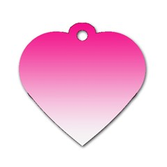 Gradients Pink White Dog Tag Heart (Two Sides)