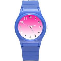 Gradients Pink White Round Plastic Sport Watch (s)