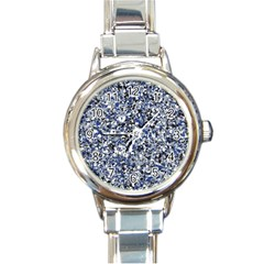Electric Blue Blend Stone Glass Round Italian Charm Watch