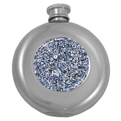 Electric Blue Blend Stone Glass Round Hip Flask (5 oz)
