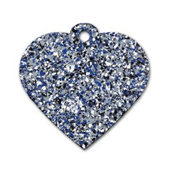 Electric Blue Blend Stone Glass Dog Tag Heart (Two Sides)